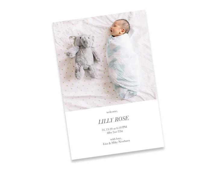 4 x 6 double sided flat baby card