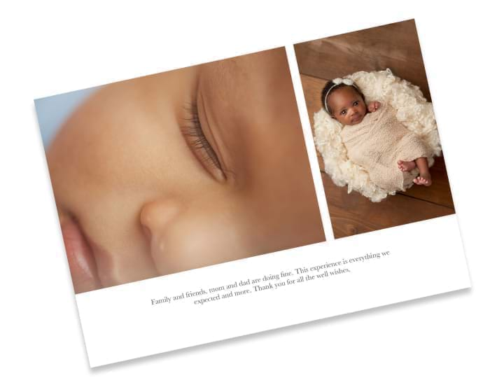 6 x 4 double sided flat baby card