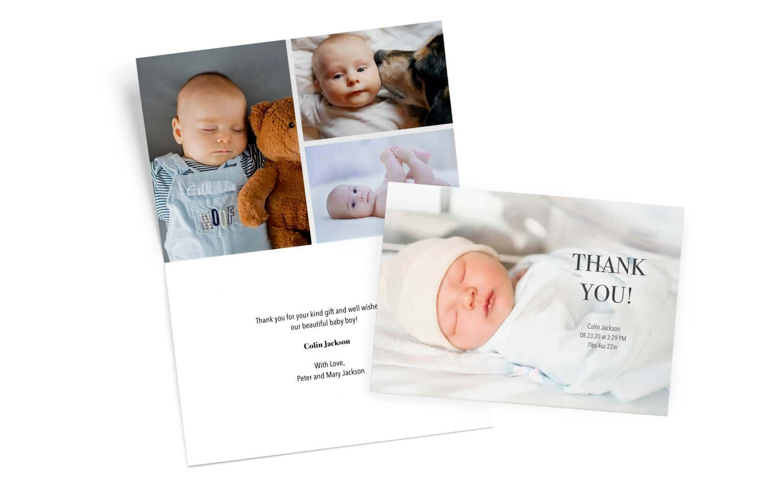 custom baby thank you card