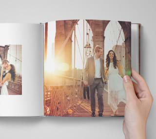 Open wedding photo book