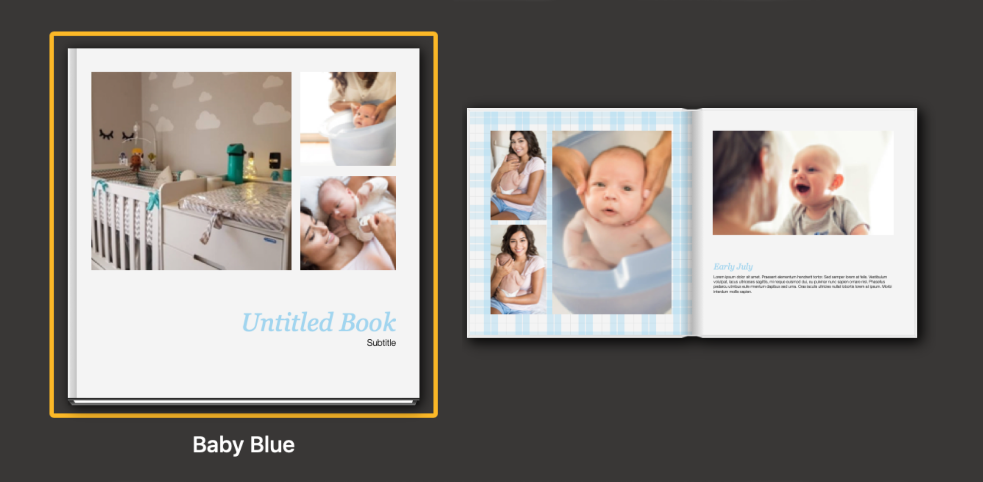 photobook theme in baby blue