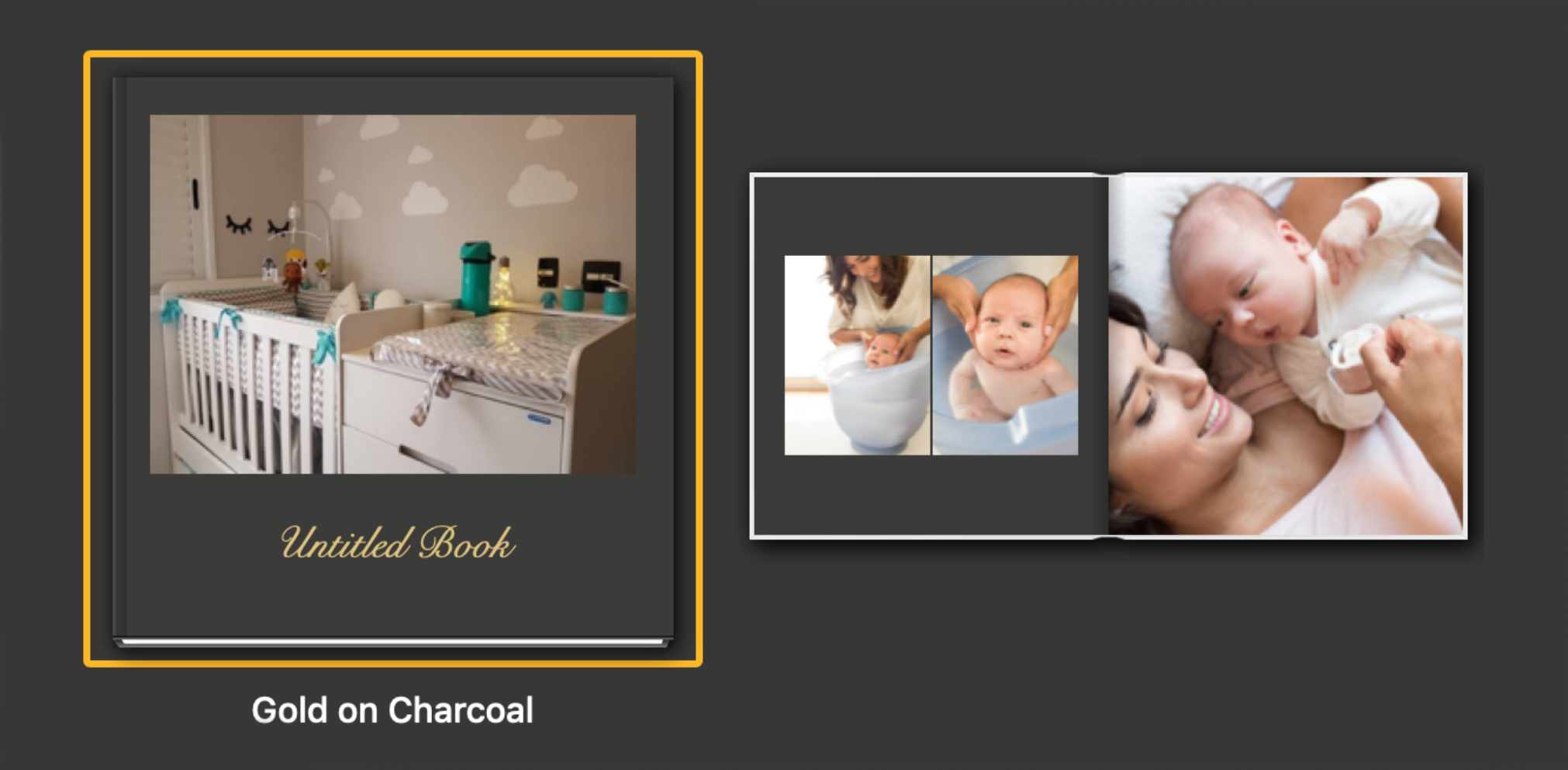 photobook theme in gold and charcoal