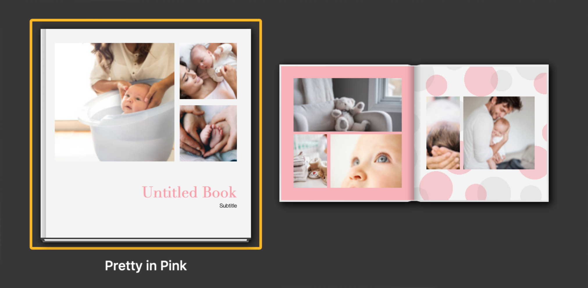 photo album theme in pink and white